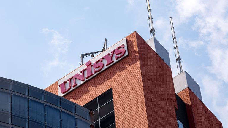 Logo of Unisys Corp. – global information technology company – on facade Andromeda Tower in Vienna Donau city in Vienna, on July 31, 2019