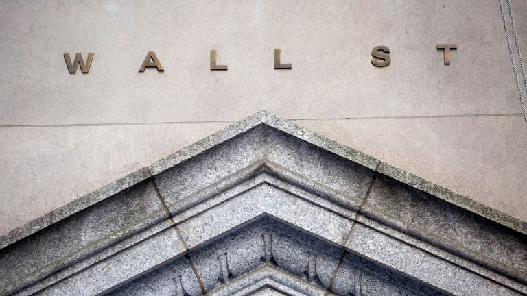 Wall Street signage in the Financial District of New York