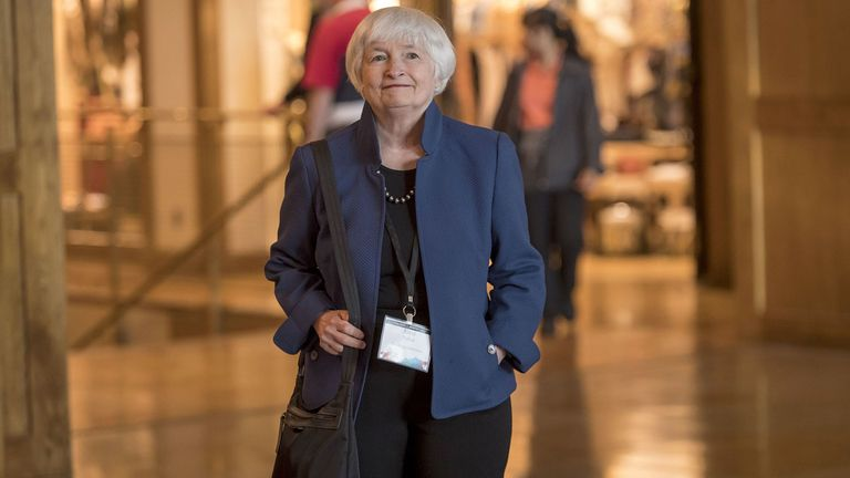 Janet Yellen, former chairwoman of the U.S. Federal Reserve, arrives for dinner during the Jackson Hole economic symposium