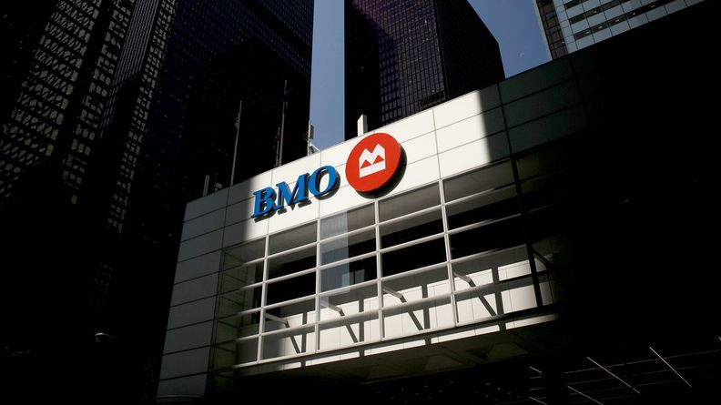 Bank of Montreal signage on a building in the financial district of Toronto