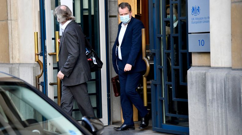 Former U.K. chief Brexit negotiator David Frost arrives at the European Commission