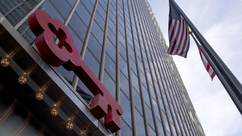 An American flag flies outside of the KeyBank building in Columbus, Ohio
