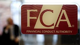 Financial Conduct Authority logo on a window of the organization's offices in London