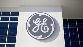 GE logo on the side of a building