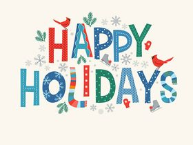 Colorful lettering Happy Holidays with decorative seasonal design elements