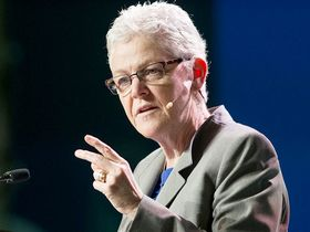 Gina McCarthy, former administrator of the U.S. Environmental Protection Agency, speaks during the 2016 IHS CERAWeek conference in Houston on Feb. 24, 2016