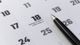 Birthday of Martin Luther King Jr. shown on a calendar, Jan. 18