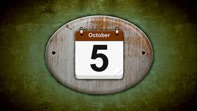 Illustration old wooden calendar with Oct. 5