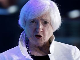 Janet Yellen, former chair of the U.S. Federal Reserve, speaks during a panel discussion at the Bloomberg New Economy Forum in Singapore on Nov. 7, 2018.
