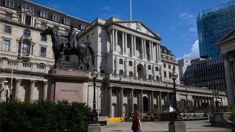 A pedestrian walks past the Bank of England in London on Aug. 4, 2020.