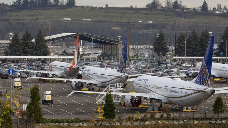 Grounded Boeing Co. 737 Max airplanes are seen in a parking lot near Boeing Field in Seattle