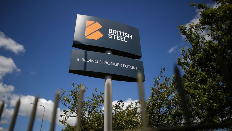 A sign at the entrance to British Steel Ltd.'s plant in Scunthorpe, U.K.