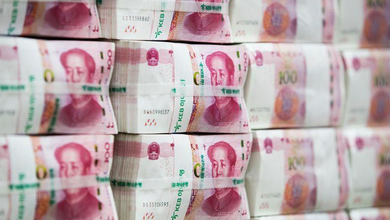 Bundles of Chinese 100 yuan banknotes