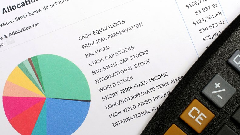 calculator with pie chart showing asset allocation