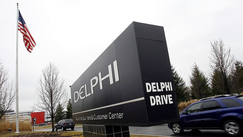 A sign outside Delphi Corp. headquarters in Troy, Mich., on April 4, 2008
