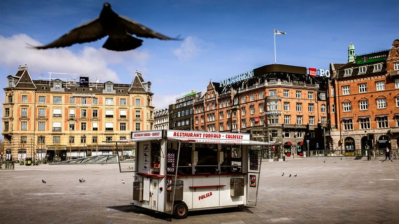 A food cart in an almost deserted Central Square in Copenhagen