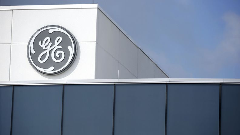 Signage is displayed outside the General Electric Co. Aviation assembly plant in Lafayette, Ind.