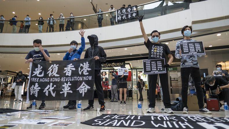 Demonstrators wearing protective masks at a protest in Hong Kong