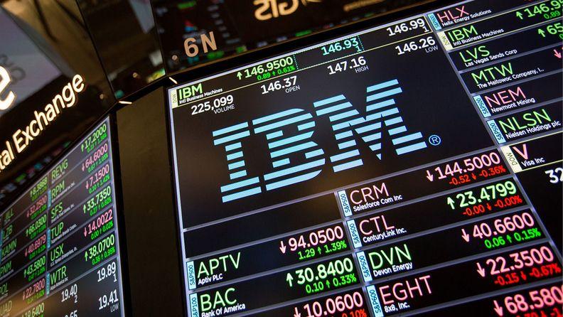 IBM signage on the floor of the New York Stock Exchange