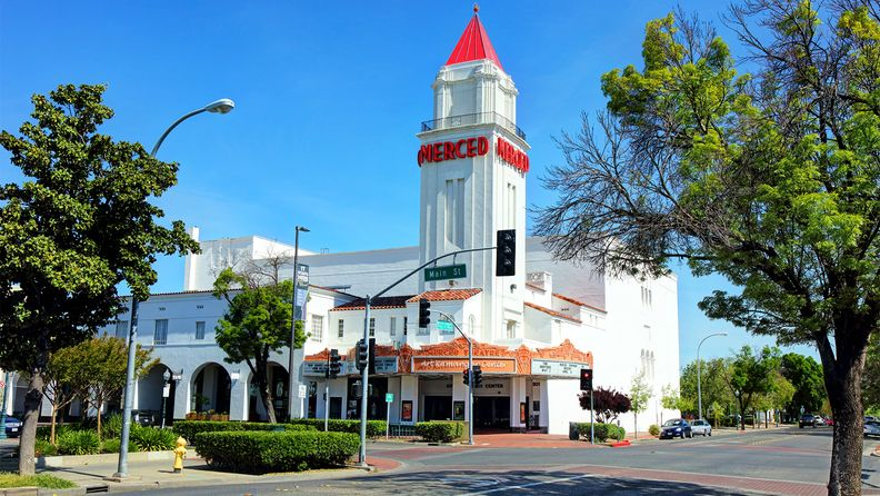 Merced, California, USA - April 6, 2019: Daytime view of the Merced Theatre along W. Main Street in the downtown district
