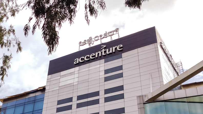 accenture sign on a building front