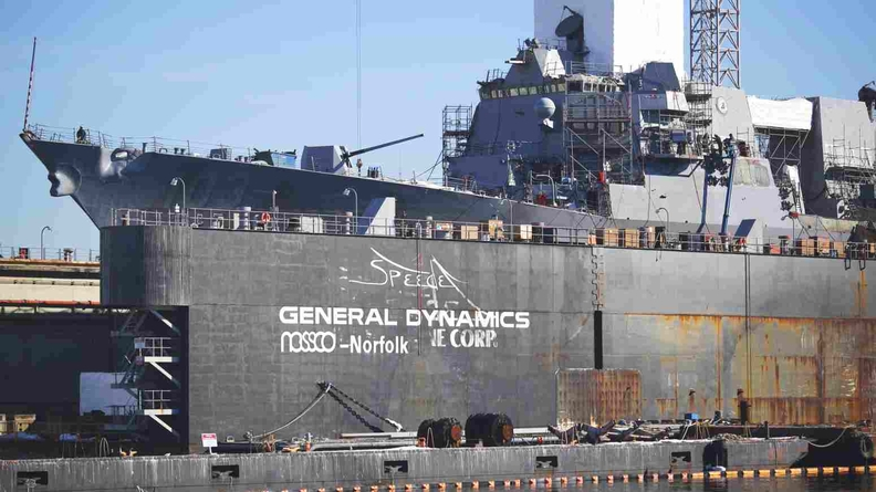 A U.S. Navy destroyer in dry dock at a General Dynamics Corp. shipyard