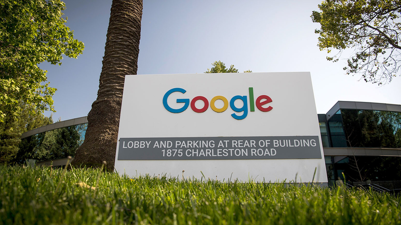 A Google sign outside the companies headquarters in Mountain View, Calif.