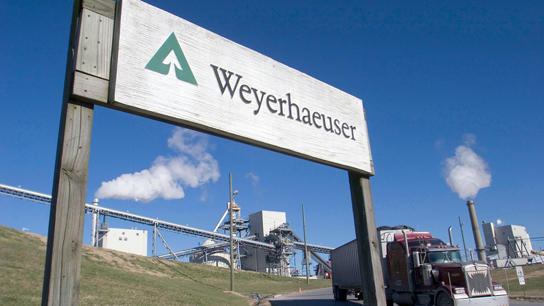 A Weyerhauser sign outside one of the company's paper mills in Kingsport, Tenn.