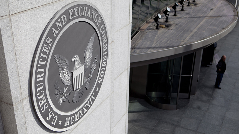 The Securities and Exchange Commission seal is displayed outside headquarters in Washington