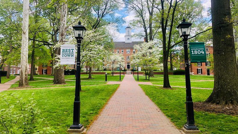 The main campus of Ohio University in the springtime