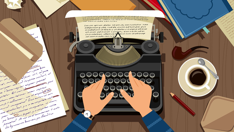 Writer or journalist workplace. stock illustration