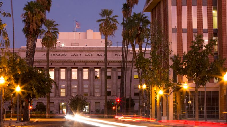 Evening view of downtown San Bernardino, Calif.