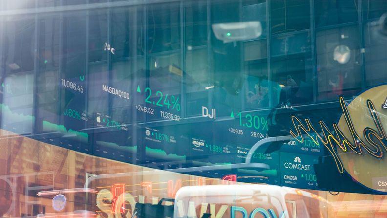 Stock market information displayed at the Nasdaq MarketSite in New York's Times Square