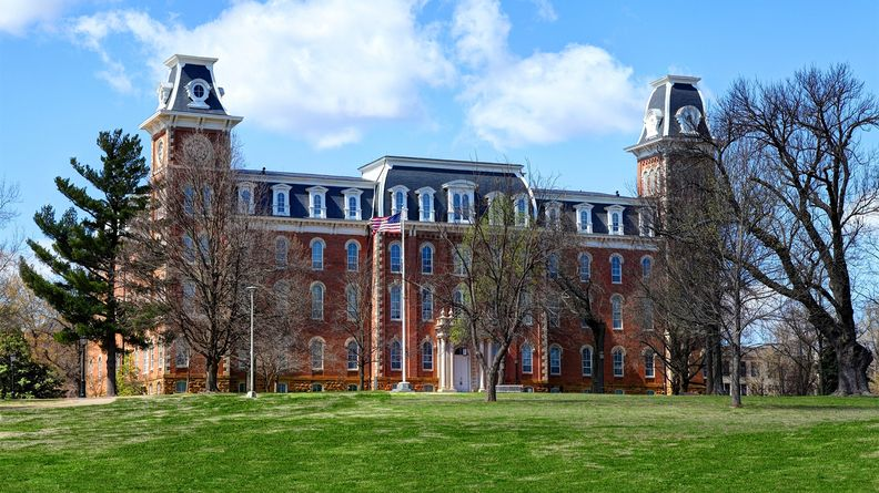 Old Main, completed in 1875, is the oldest building on the University of Arkansas campus locate in Fayetteville.