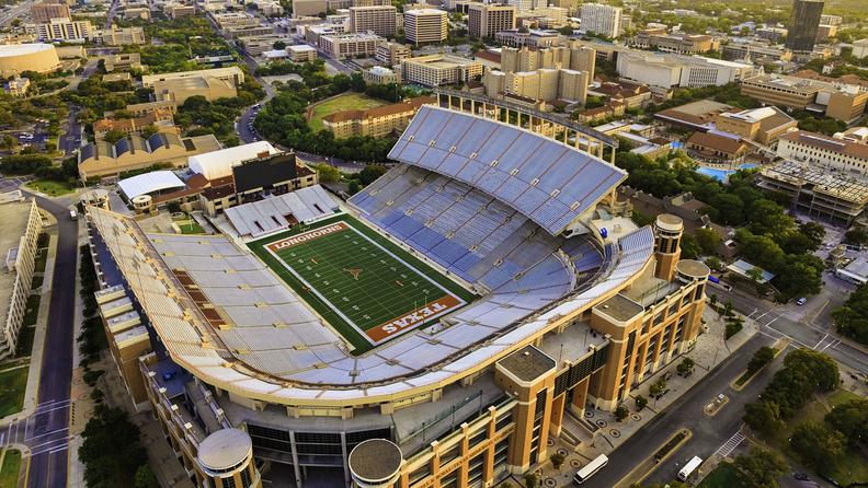 Aerial view of University of Texas football stadium