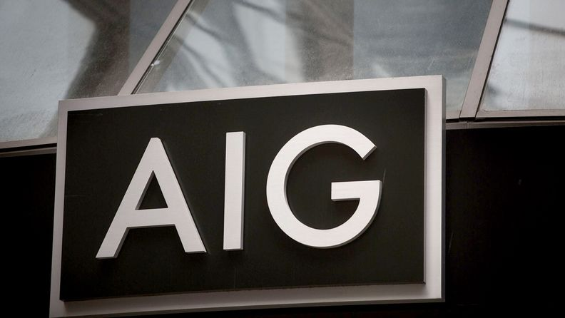 An American International Group Inc. sign is displayed at the company's headquarters office in New York