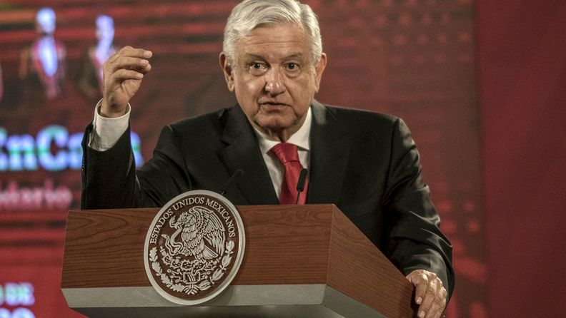Andres Manuel Lopez Obrador, Mexico's president, speaks during a news conference at the National Palace in Mexico City on July 22, 2020.