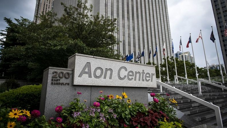 Aon Center buildig on Randolph Street in Chicago
