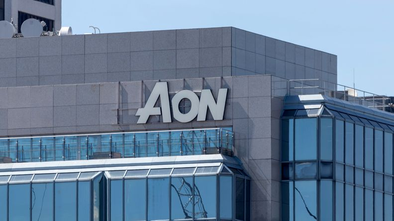 AON sign atop of its office building and headquarters in downtown Vancouver, British Columbia