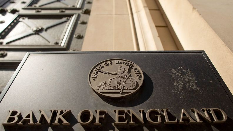 A sign sits outside the Bank of England in the City of London, May 6, 2020.