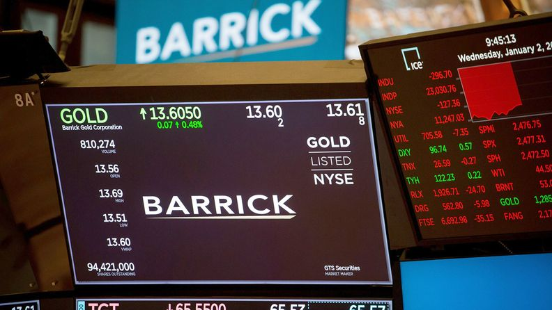 Monitors display Barrick Gold Corp. signage on the floor of the New York Stock Exchange on Jan. 2, 2019.
