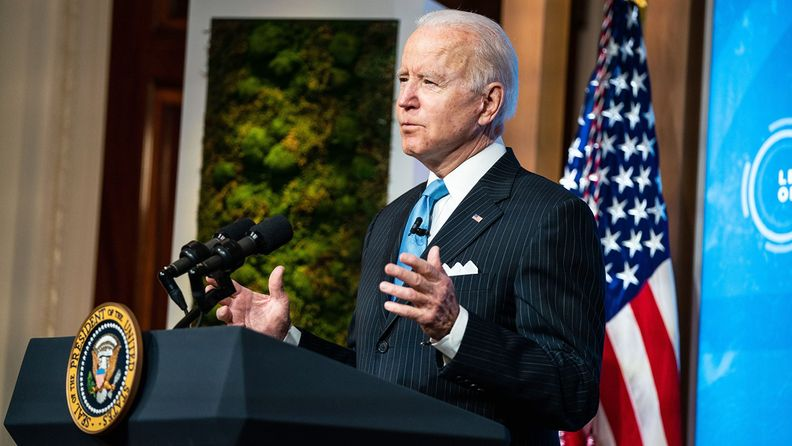 President Joe Biden speaks during the virtual Leaders Summit on Climate in the East Room of the White House