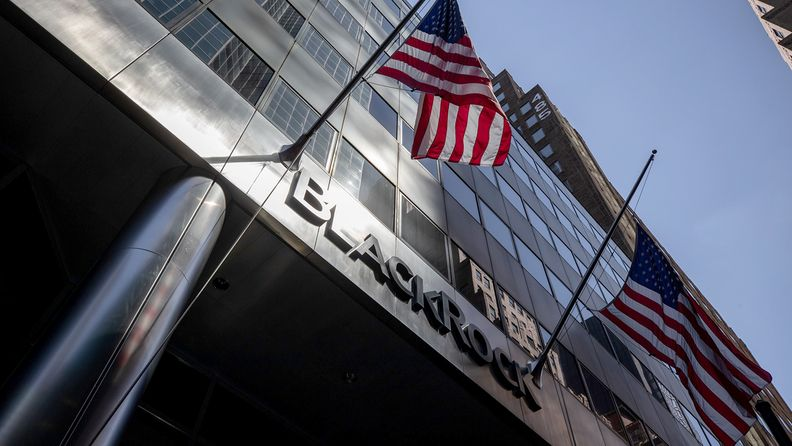 American flags fly outside BlackRock Inc. headquarters in New York on July 9, 2020