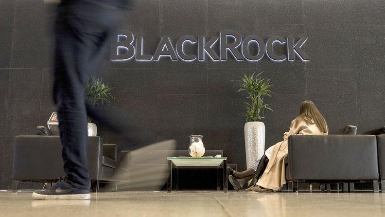 The lobby of BlackRock's New York headquarters