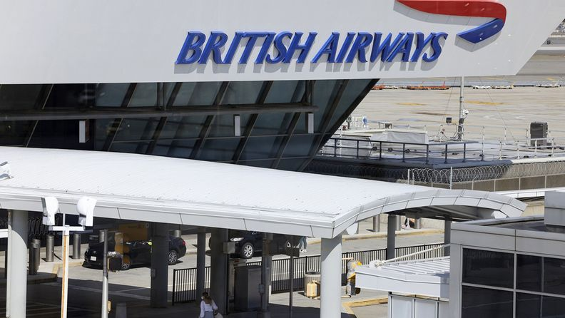 A British Airways sign at Terminal 7 at John F. Kennedy International Airport in New York