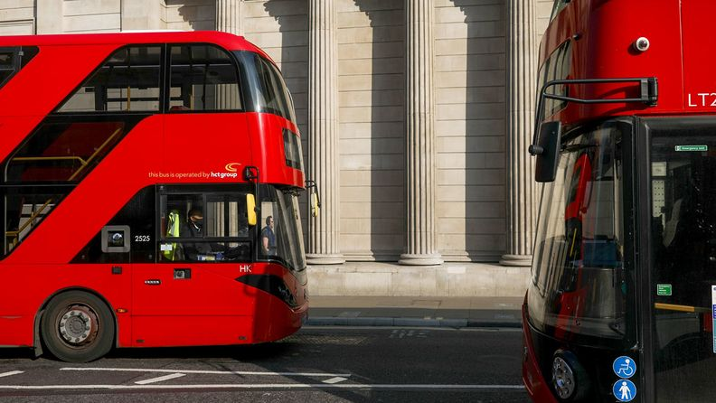 Buses outside the Bank of England.