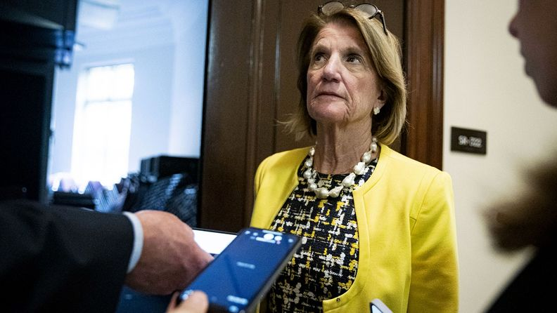 Senator Shelley Moore Capito, R-W. Va., speaks with members of the media on Capitol Hill on June 10, 2021