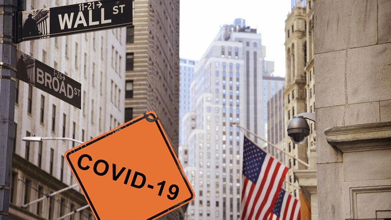 COVID-19 road sign, Wall Street, New York