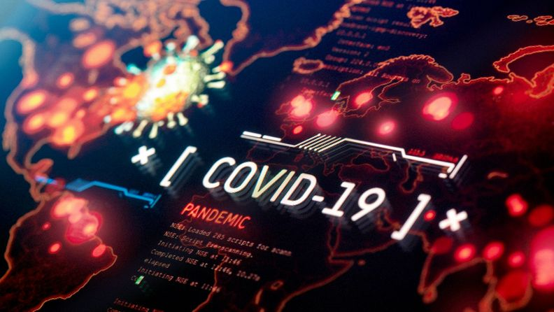 COVID-19 pandemic on world map background