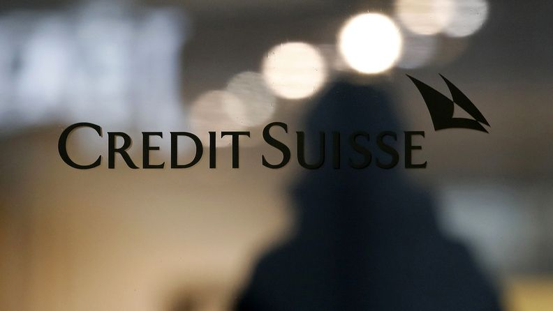 Credit Suisse logo on a window